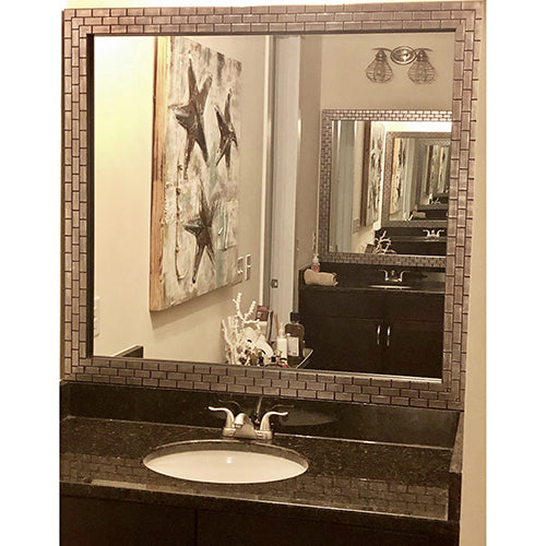 Metallic Ash Bathroom Wall Mirror Framing