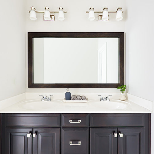 Cherokee Espresso Walnut Framed Mirror Above Bathroom Sinks