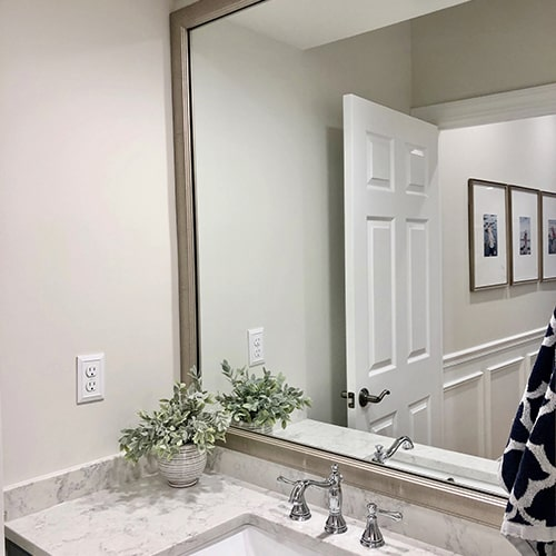 Slim Old World Silver Bathroom Wall Mirror Framing