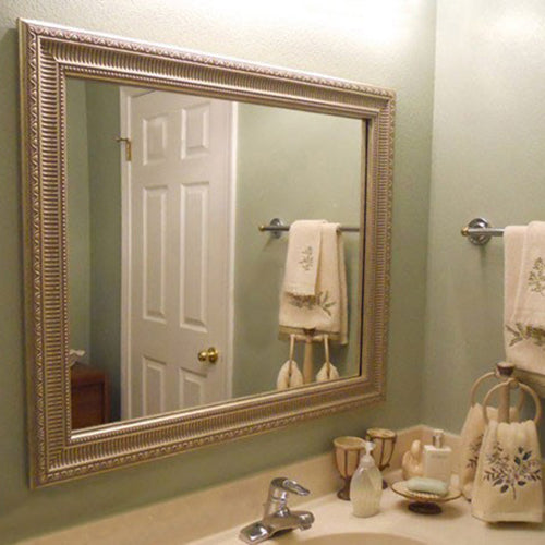Large Silver Ornate Bathroom Mirror Framing