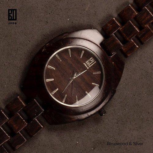 Rosewood and Silver Watch