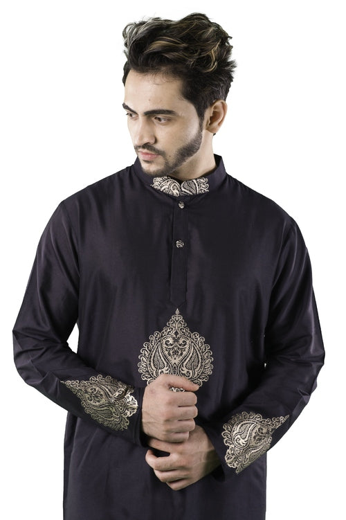 Indian Pan Metallic Kurta in Navy