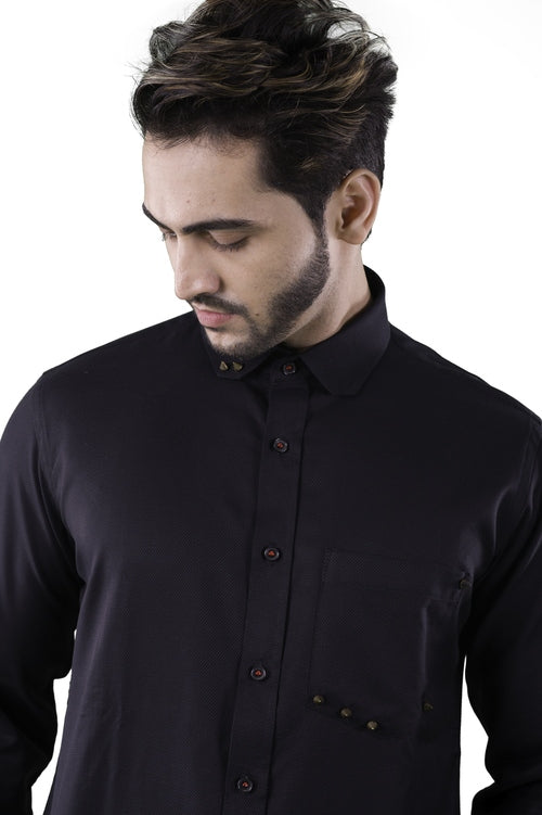 Black cotton shirt with stud detailing