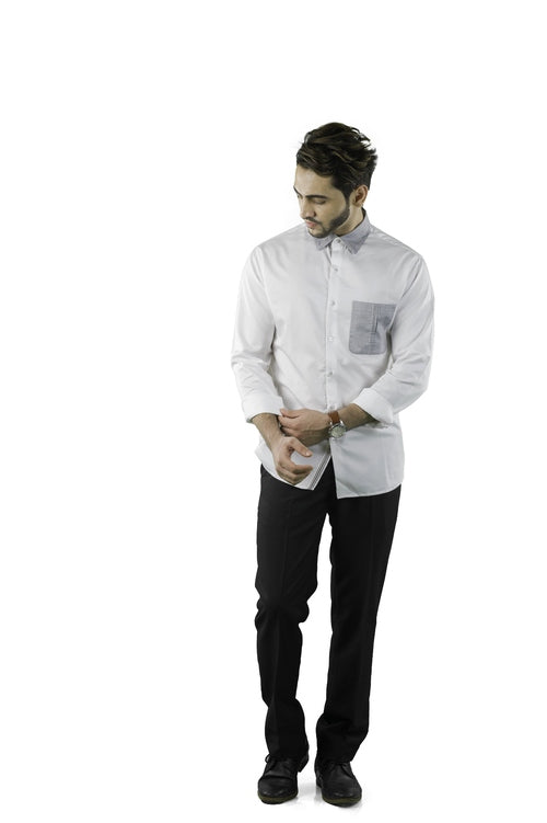 cotton white shirt with contrast collar/pocket