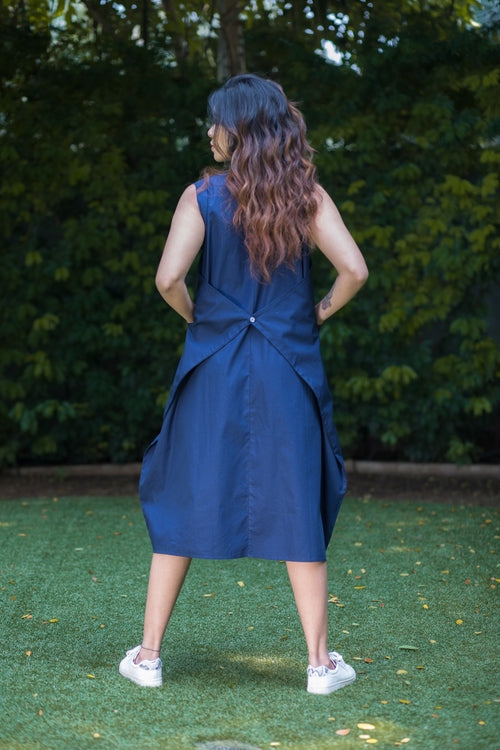 Blue Back Tie Dress