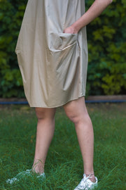 Beige Sleeveless Back Tie Dress