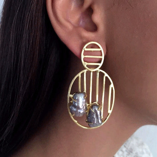 Line Stone Hoop Earrings