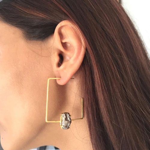 Square C Shaped Earrings