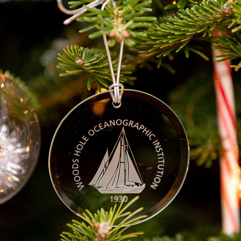 WHOI Logo Glass Ornament