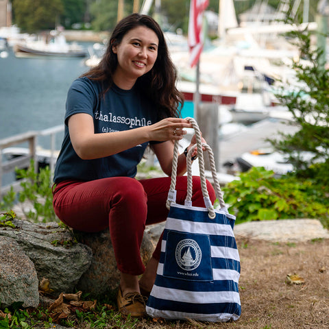 Nautical Striped Tote Bag with Classic Seal