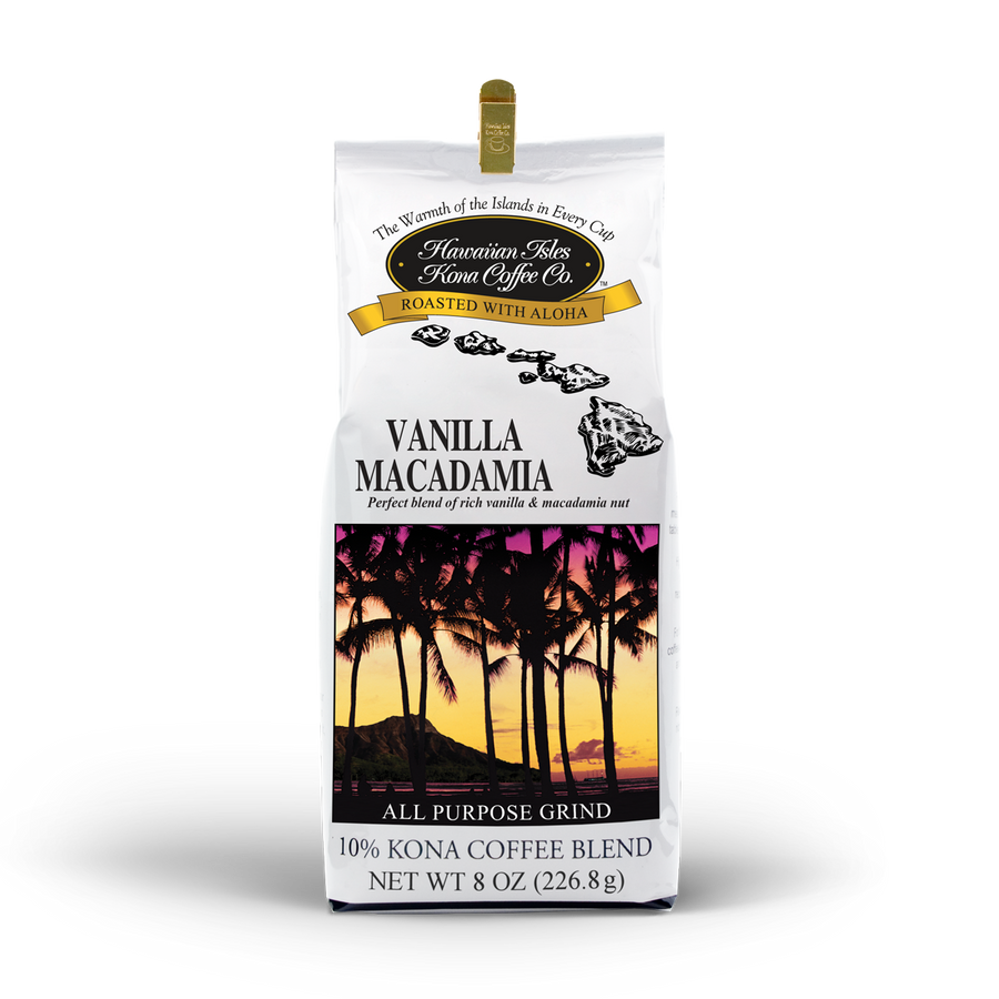 Kona Vanilla Macadamia Nut - Ground & Whole Bean - 8 oz - Hawaiian Isles Kona Coffee