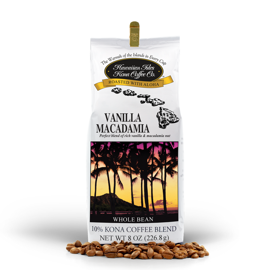 Kona Vanilla Macadamia Nut - Whole Bean - 8 oz - Hawaiian Isles Kona Coffee