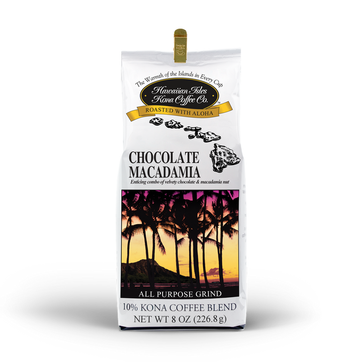 Kona Chocolate Macadamia Nut - Ground - 8 oz - Hawaiian Isles Kona Coffee