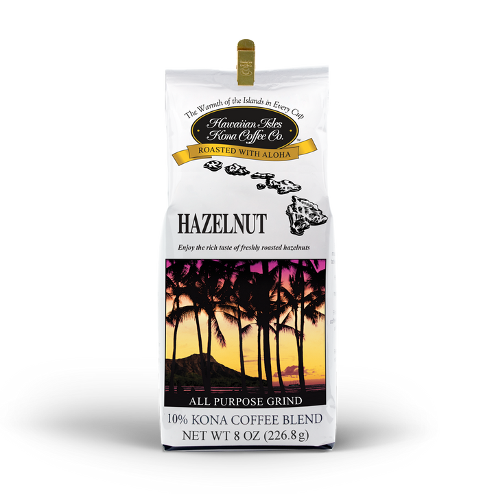 Kona Hazelnut Coffee - Ground - 8 oz - Hawaiian Isles Kona Coffee