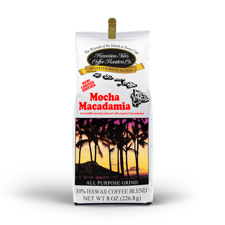 Limited Edition - Mocha Macadamia - Ground - 8 oz - Hawaiian Isles Kona Coffee