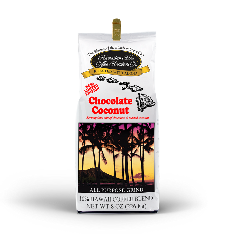 Limited Edition - Chocolate Coconut - Ground - 8 oz - Hawaiian Isles Kona Coffee