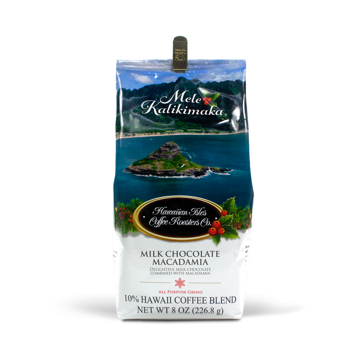 Holiday Edition - Milk Chocolate Macadamia - Ground - 8 oz - Hawaiian Isles Kona Coffee