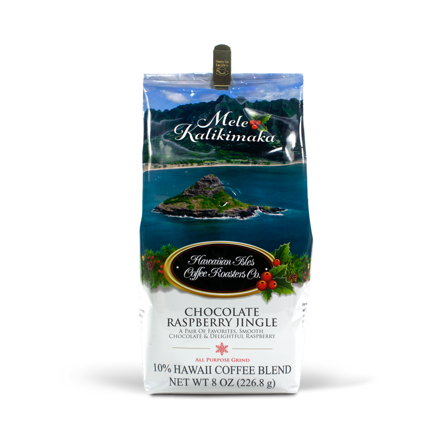 Holiday Edition - Chocolate Raspberry Jingle- Ground - 8 oz - Hawaiian Isles Kona Coffee
