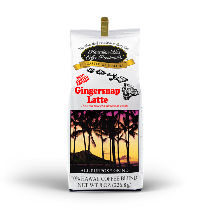 Limited Edition - Gingersnap Latte - Ground - 8 oz - Hawaiian Isles Kona Coffee