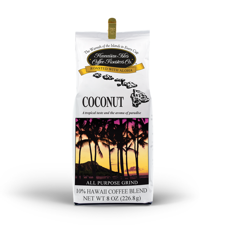 Coconut - Ground - 8 oz - Hawaiian Isles Kona Coffee