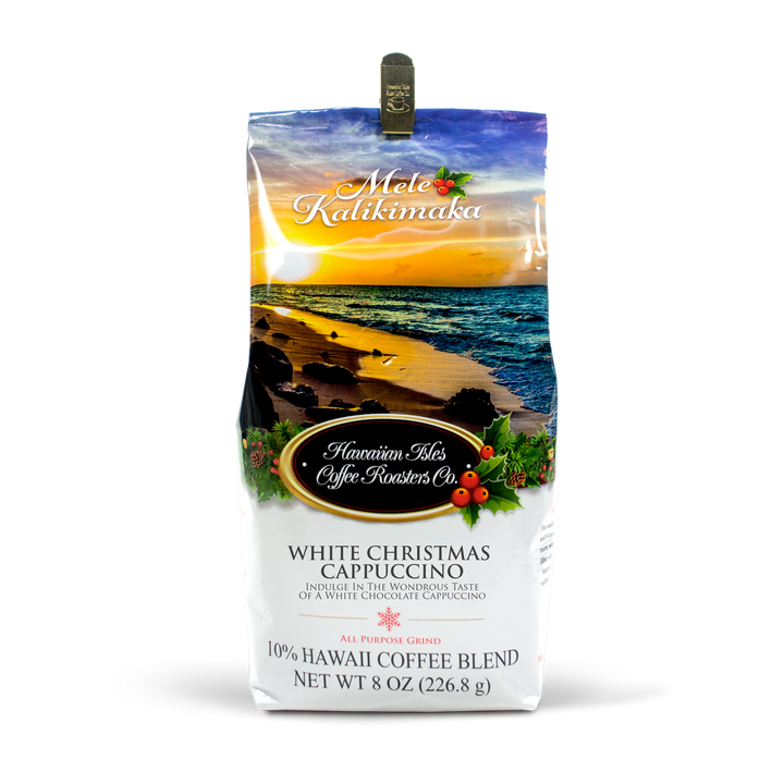 Holiday Edition - White Christmas Cappuccino - Ground - 8 oz - Hawaiian Isles Kona Coffee