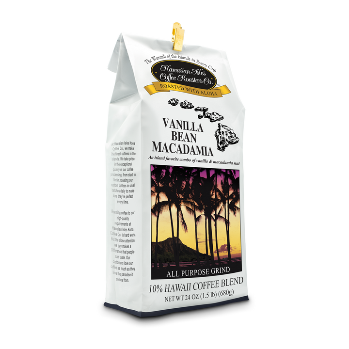 Vanilla Bean Mac Nut - Ground - 24 oz - Hawaiian Isles Kona Coffee