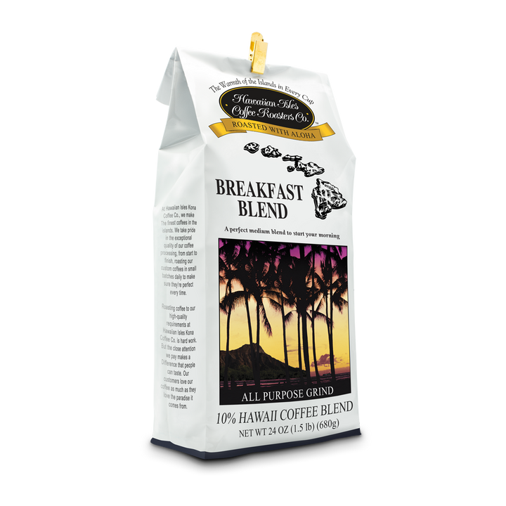 Breakfast Blend - Ground - 24 oz - Hawaiian Isles Kona Coffee