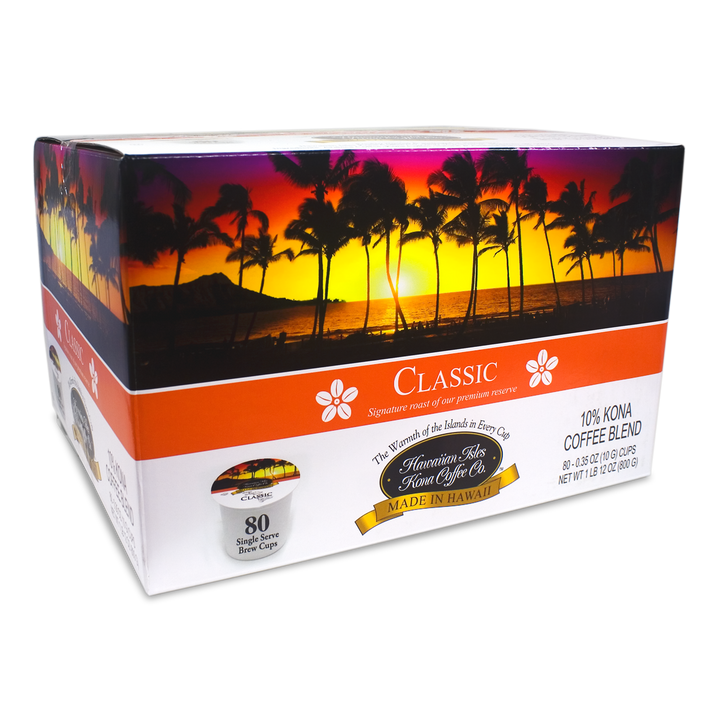 Kona Classic - Single Serve Cup - 80 Pack - Hawaiian Isles Kona Coffee