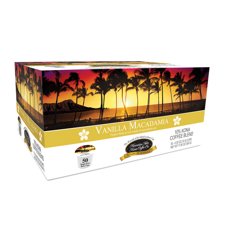 Kona Vanilla Macadamia - Single Serve Cup - 50 Pack - Hawaiian Isles Kona Coffee