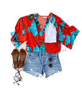 Festival top, Summer Top, Flattering Top, On the road top, YFB, Free People Bralette, A gold E cutoff shorts, Denim Shorts