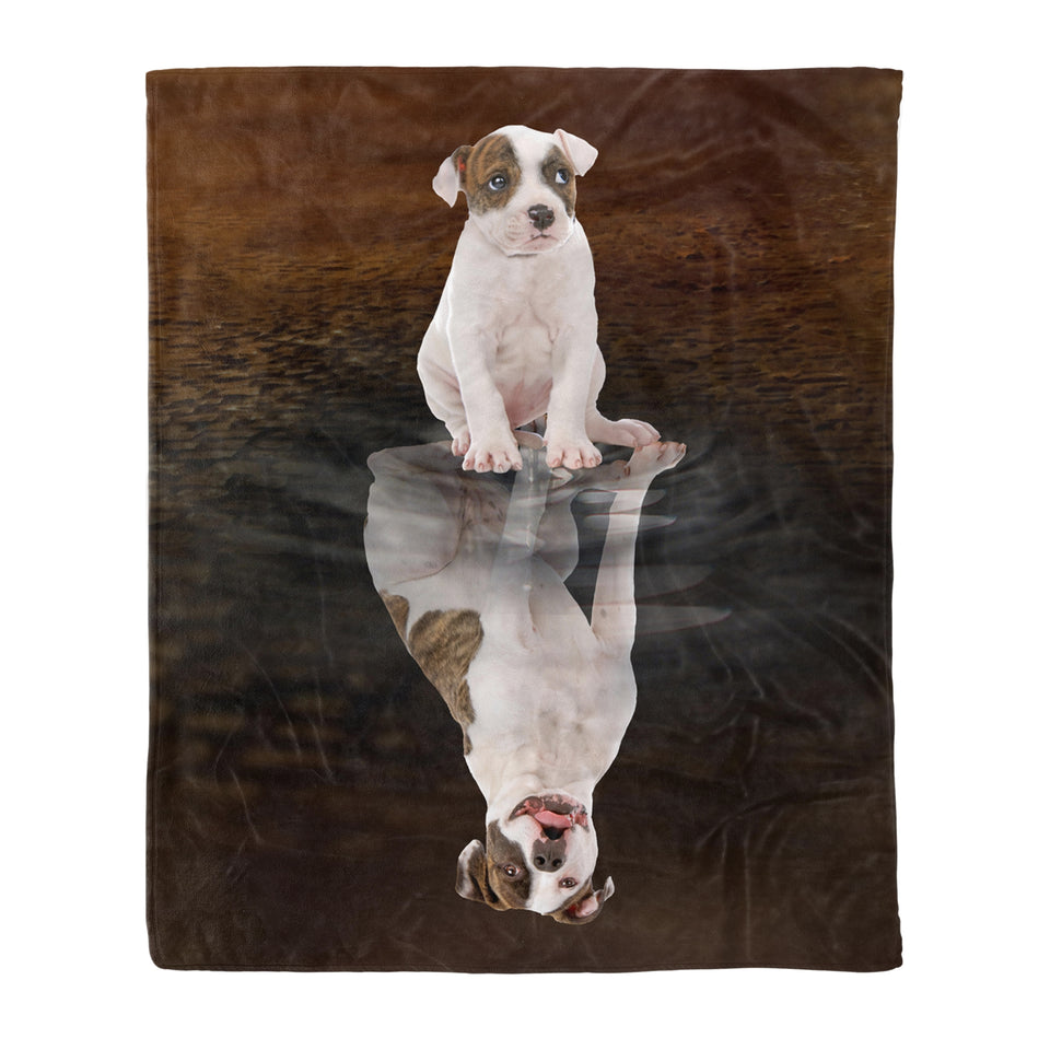 Dog & owners fleece blanket Pet remembrance gift idea for the whole family, dog lovers, dog dad mom - American Bulldog Reflection - Dog blanket dog lover gift idea family gift - PersonalizedWitch
