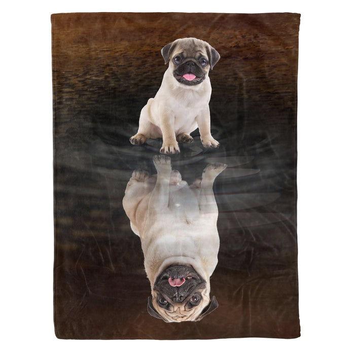 Fleece Blanket Mother's day Father's day unique gift ideas for mom & dad from daughter & son kids, meaningful birthday presents -  Pug Dreaming Fleece Blanket, Unique Gifts For Dog Lovers, Best Friend, Parents