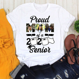Custom personalized photo graduation tshirt funny gifts for senior, family, best friends & graduated class - Proud Mom Of A 2020 Senior - PersonalizedWitch