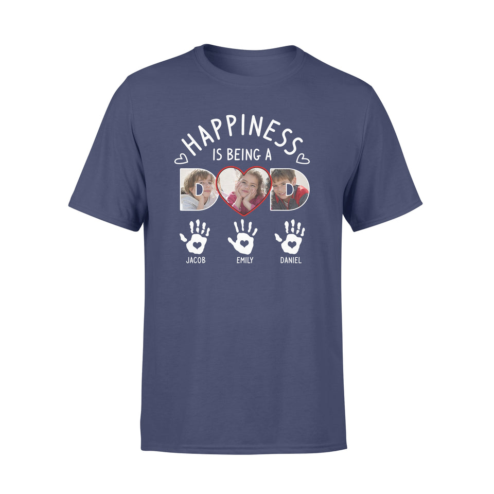 CCustom Personalized Photo Daddy T Shirts Printing Gift with pictures on Father's day, birthday gift for world's best dad from daughter son - Happiness is being a Dad - PersonalizedWitch