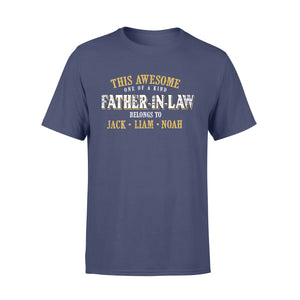 Custom personalized father in law & dad Tee shirts printing father's day, birthday gift for world's best dad - Awesome Father In Law Belongs To - PersonalizedWitch