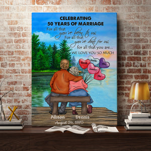 Celebrating Wedding Anniversary - Personalized anniversary gifts ideas for mom couple presents for golden wedding memorial custom gift canvas