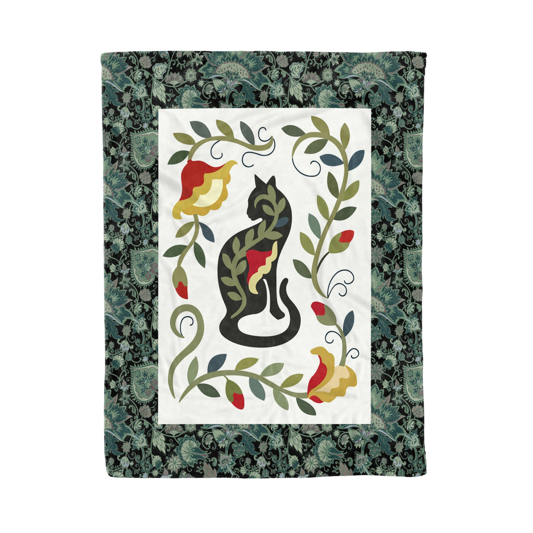 Cat Green Pattern Fleece Blanket