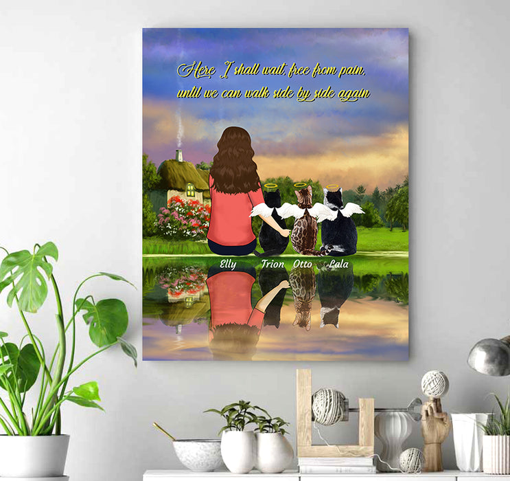 Custom personalized cat memorial canvas print wall art Pet remembrance canvas gifts for cat mom dad pet lovers - Here I shall wait, free from pain, until we can walk side by side again, Cats - Personalizedwitch
