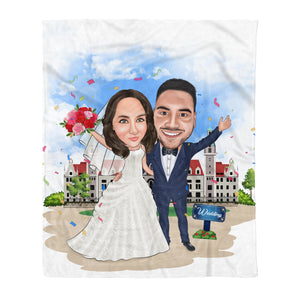 Custom personalized fleece blanket couple husband and wife gifts idea, Christmas, wedding anniversary birthday presents for loved one - Couple Married - PersonalizedWitch