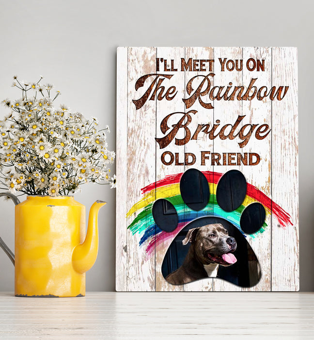 Custom personalized dog memorial photo to canvas print wall art Pet remembrance gift idea for dog mom dad pet lovers owner - Dogs The Rainbow Bridge - PersonalizedWitch