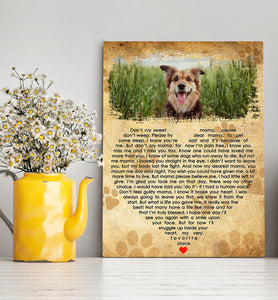 Custom personalized dog memorial photo to canvas Pet remembrance print wall art gift idea for dog mom dad pet lovers with pictures on - Sweet Dog Mama Poem - PersonalizedWitch