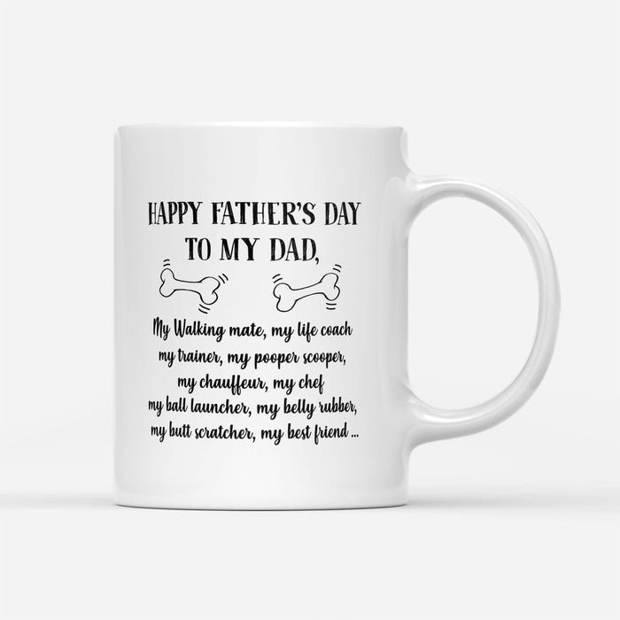 Custom personalized dog & owner coffee mugs gift for dog dad pet lovers, unique father's day gift for dad ideas from daughter & son kids - Happy Father's Day - PersonalizedWitch