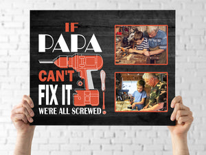 Custom Personalized Dad canvas gift for him Father's Day Birthday - If Papa Can't Fix - PersonalizedWitch