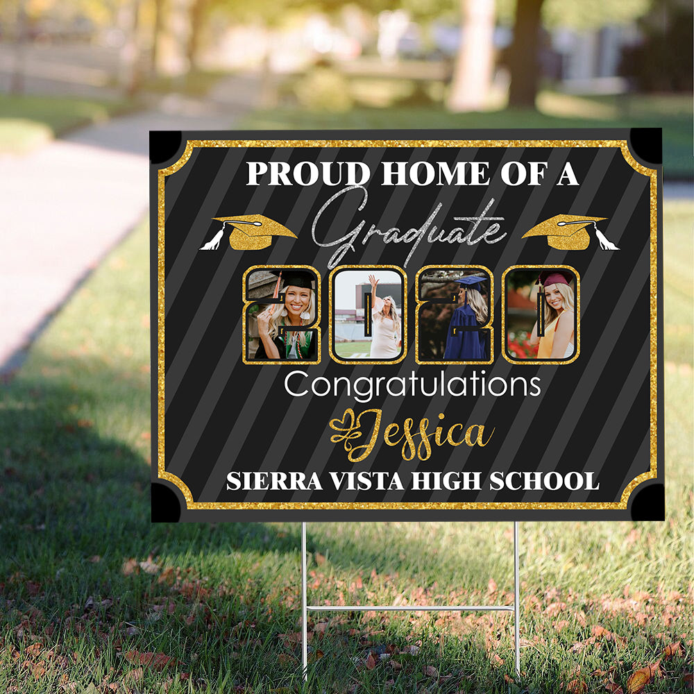 Custom personalized photo to yard sign gifts idea, pictures on yard sign graduation gifts for senior, family, best friends & graduated class  - Personalized Proud Home Of A Graduate 2020 - Personalizedwitch