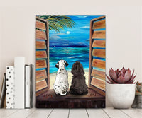 Custom Dog Canvas Beach View and Moonlight