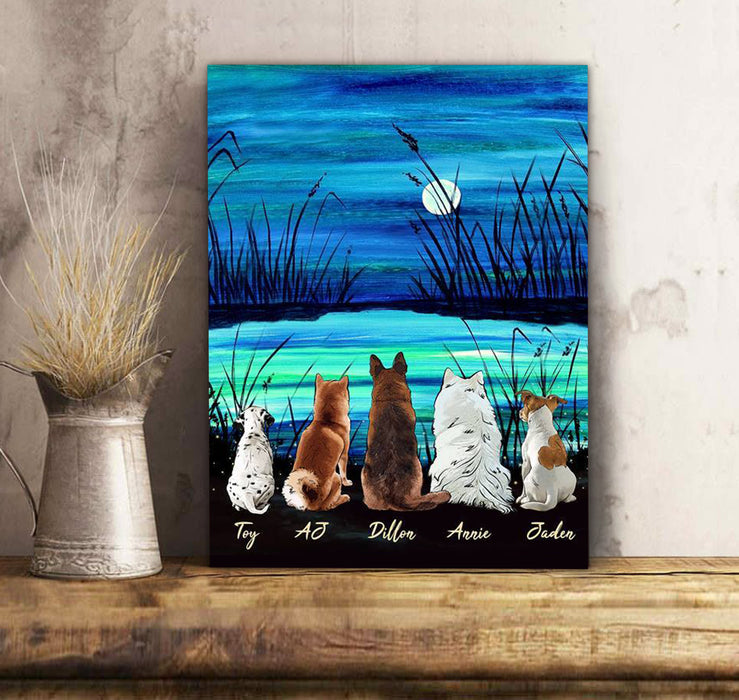 Custom personalized dog canvas Pet remembrance print gift idea for dog mom dad pet lovers - Beautiful Night - PersonalizedWitch