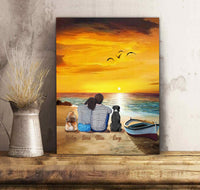 Custom personalized dog & owners canvas Pet remembrance print gift idea for the whole family - Sunset On The Beach - PersonalizedWitch