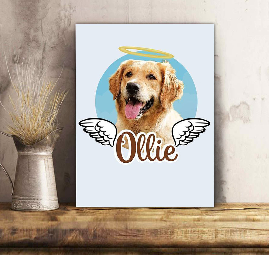 Custom Dog Canvas Dog Angel - Personalized dog & owner canvas, pet lovers, mom and dad gift