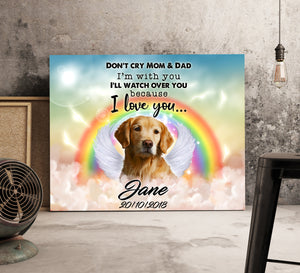 Custom personalized dog memorial canvas Pet remembrance print gift idea for dog mom dad pet lovers - Watch Over You Portrait Dog - PersonalizedWitch