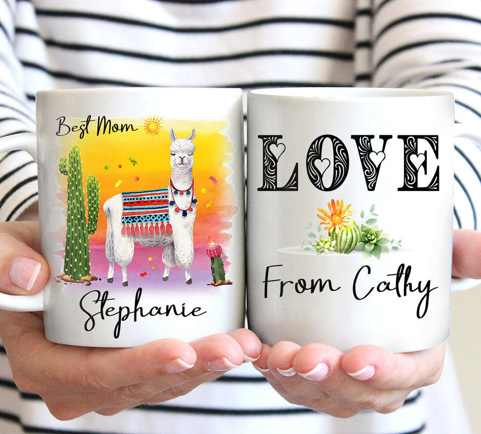 Custom personalized llama coffee mugs pink llama gift for her, llama lover presents best Mother's day gifts idea - Happy Mother's Day Llama Lover - PersonalizedWitch